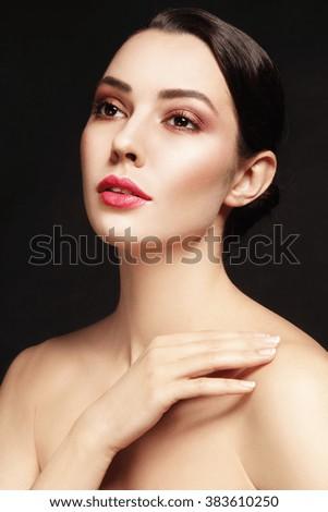 Portrait of young beautiful glamorous woman with stylish make-up  - stock photo