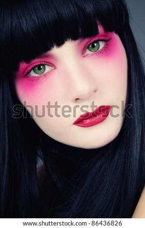 closeup shot woman face bright makeup stock photo 22517215. Black Bedroom Furniture Sets. Home Design Ideas