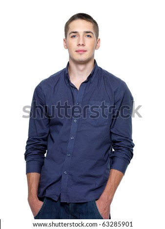 Portrait of young beautiful man isolated on a white background - stock photo