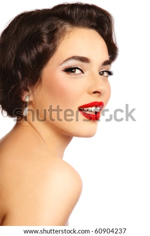 Portrait of young beautiful sexy smiling woman with glamorous make-up and hairstyle, on white background - stock photo