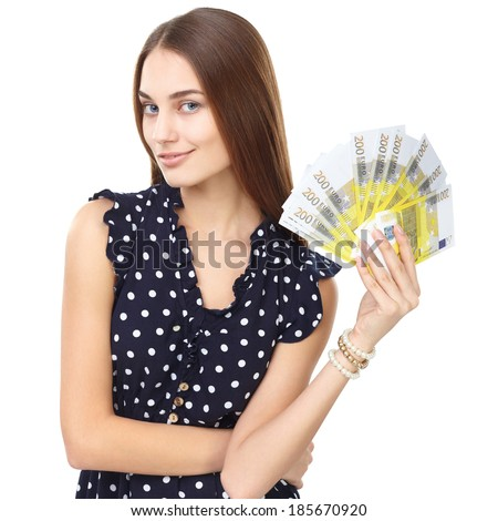 Portrait of young beautiful smiling woman holding euro banknotes money isolated on white background - stock photo