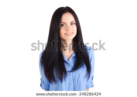 Portrait of young beautiful smiling woman, isolated over white background - stock photo