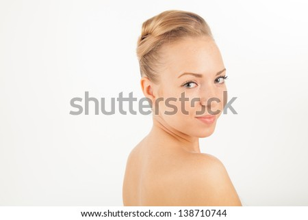 Portrait of young beautiful tender cheerful girl with alot of copyspace
