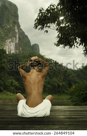 portrait of young beautiful woman  in nature environment .  - stock photo