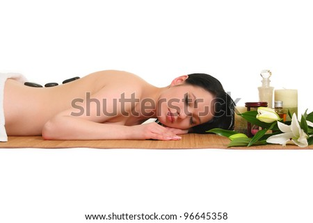 portrait of young beautiful woman in spa