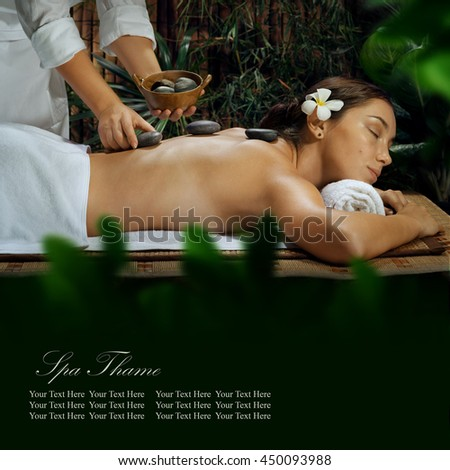 portrait of young beautiful woman in spa environment ,Banner, extra space for your text. - stock photo