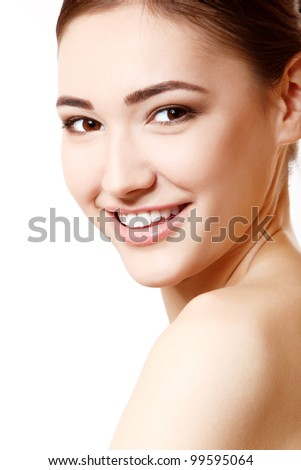 portrait of young beautiful woman isolated on white background. - stock photo