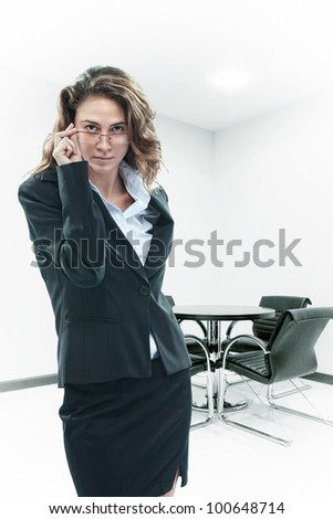 Portrait of young beautiful woman  on color  back - stock photo