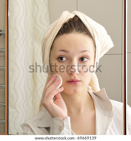 Portrait of young beautiful woman. Purity concept. - stock photo