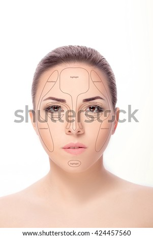 portrait of young beautiful woman with brown eyes isolated on a white background. high key.  everyday makeup