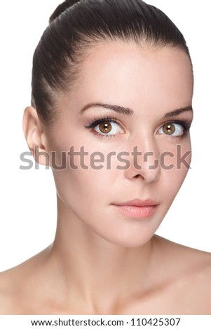 portrait of young beautiful woman with clean skin
