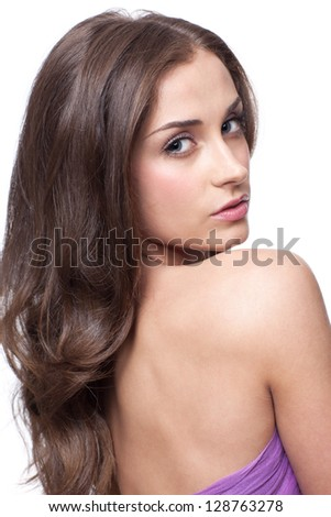 Portrait of young beautiful woman with day makeup - stock photo