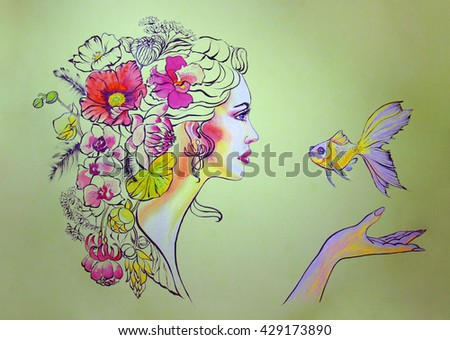 portrait of young beautiful woman with flowers and  gold fish