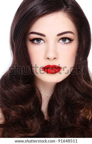 Portrait of young beautiful woman with gorgeous curly hair, on white background - stock photo