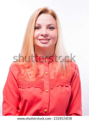 Portrait of young beautiful woman with hand on cheek - isolated