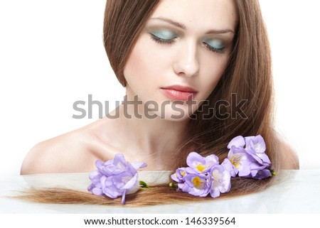 portrait of young beautiful woman with long hair.  - stock photo