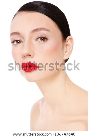 Portrait of young beautiful woman with red lipstick over white background