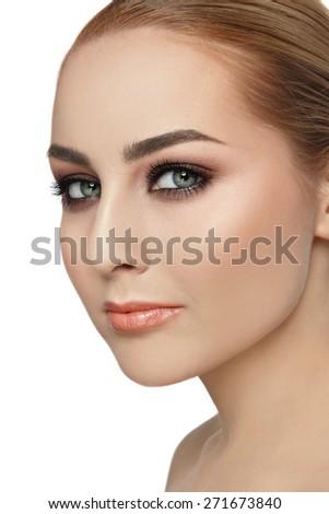 Portrait of young beautiful woman with stylish make-up  - stock photo