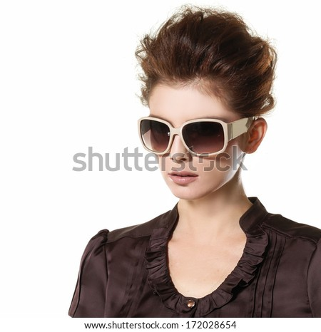 portrait of young beautiful woman with sunglasses  - stock photo