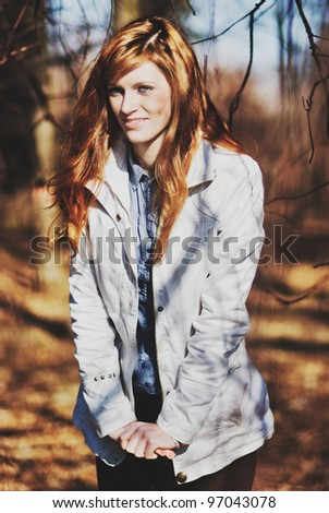 Portrait of young beautiful women outdoors - stock photo