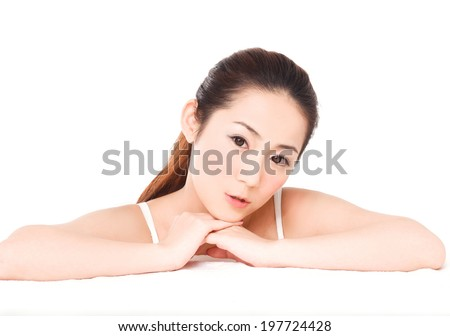 Portrait of young beauty clean female face