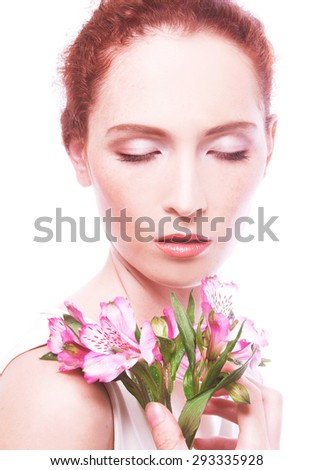 Portrait of young beauty with ginger hair. - stock photo