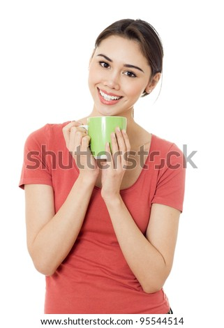 Portrait of young beauty woman with green cup