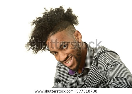 Portrait of young black man isolated on a white background - stock photo