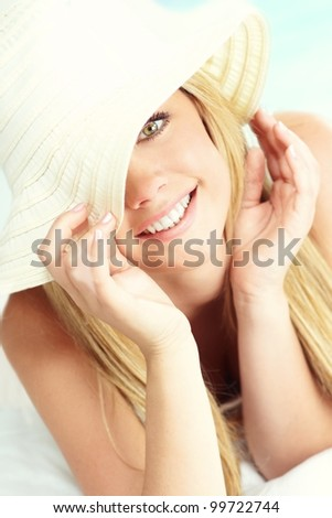 portrait of young blond girl - stock photo