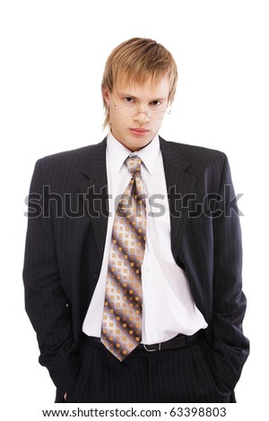 portrait of young blond man in black suit and glasses on white - stock photo