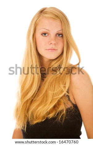 portrait of young blond woman on white background