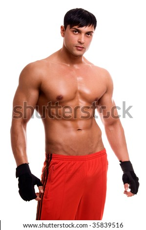 Portrait of young bodybuilder man isolated on white. - stock photo