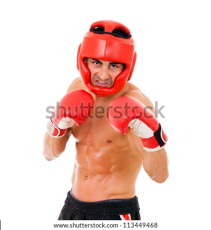 Portrait of young Boxer fighter with boxing helmet and gloves over white background