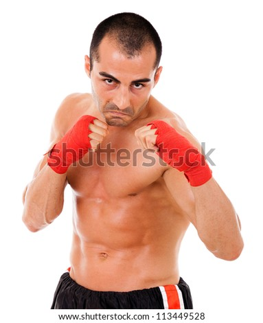 Portrait of young boxer man over white background - stock photo