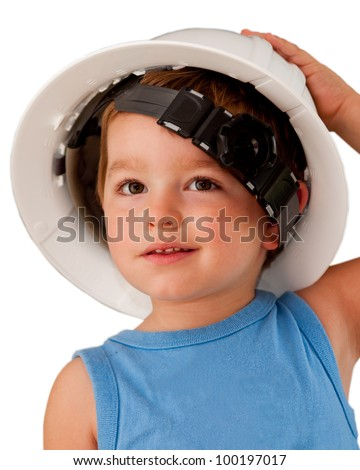 Portrait of young boy child wearing hard hat isolated on white