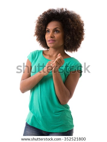 Portrait of Young Brazilian woman on white background - stock photo