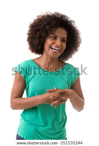 Portrait of Young Brazilian woman smiling on white background - stock photo