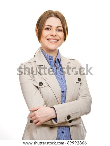 Portrait of young business lady with folded hand isolated on white background - stock photo
