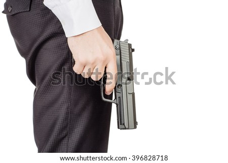 portrait of young  business man holding a gun.  isolated on white background. war,crime,police, lifestyle and gun control concept - stock photo