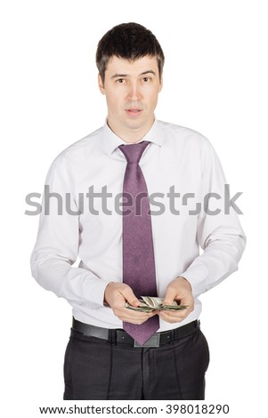 portrait of young  business man holding and counting money.  isolated on white background. shopping, banking and lifestyle concept - stock photo
