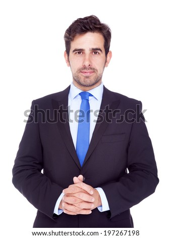 Portrait of young business man, isolated on a white background