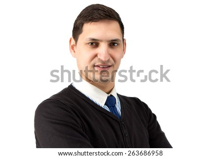 Portrait of young business man on white background