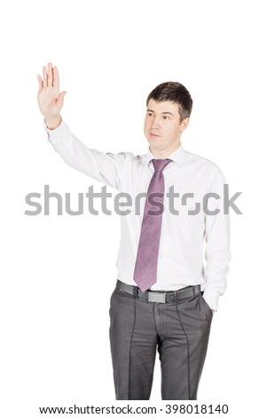 portrait of young business man waving to his colleague.  isolated on white background. business and lifestyle concept - stock photo