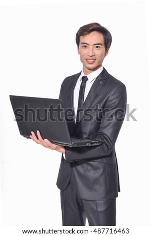 portrait of young business men with laptop