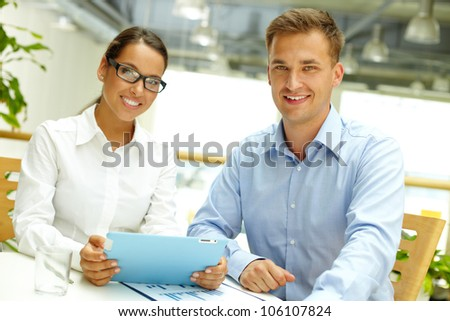 Portrait of young business people representing confidence and success - stock photo