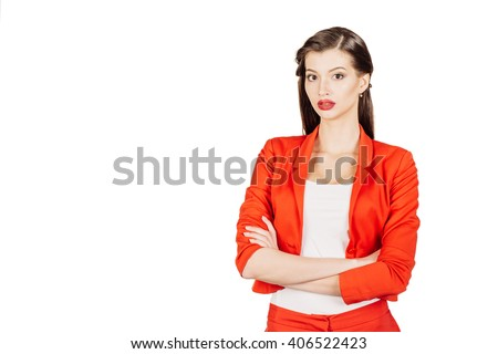 portrait of young business woman in red suit. isolated on white background. business and lifestyle concept