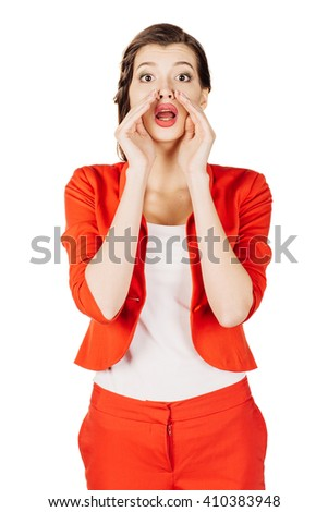 portrait of young business woman in red suit loud screaming or calling out to someone. isolated on white background. business and lifestyle concept - stock photo