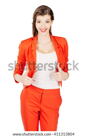 portrait of young business woman in red suit showing thumbs up gesture. isolated on white background. business and lifestyle concept - stock photo