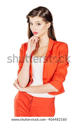 portrait of young business woman in red suit thinking. isolated on white background. business and lifestyle concept