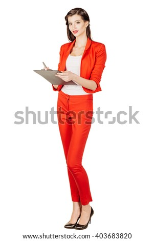 portrait of young business woman in red suit writing on clipboard. isolated on white background. business and lifestyle concept - stock photo